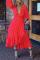 Red Casual Dot Flounce V Neck Irregular Dress Plus Size Dresses