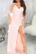 Light Pink Sexy Solid High Opening Cake Skirt Dresses