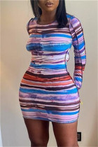Brown Fashion Sexy Striped Print Backless O Neck Long Sleeve Dresses