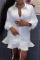 White Casual Solid Flounce Turndown Collar Shirt Dress Dresses
