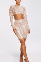 Champagne Fashion Casual Sequins Two-Piece Set