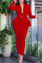 Red Fashion Casual Solid Split Joint Flounce Turndown Collar Long Sleeve Two Pieces