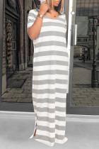 Light Gray Fashion Casual Striped Print Slit Hooded Collar Short Sleeve Dress Dresses