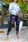 Medium Blue Casual Solid Ripped Plus Size Jeans