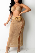 Camel Sexy Solid Hollowed Out Split Joint Frenulum Backless Swimwears