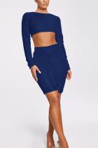Blue Fashion Casual Sequins Two-Piece Set