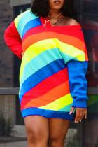 Multicolor Fashion Casual Striped Print Split Joint V Neck Long Sleeve Dresses
