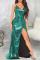 Green Sexy Solid High Opening Cake Skirt Dresses