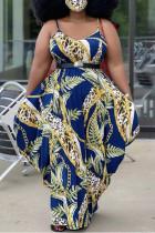 Deep Blue Fashion Sexy Plus Size Print Without Belt Spaghetti Strap Long Dress