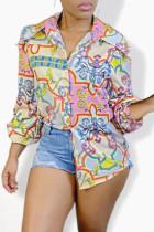 Multicolor Fashion Casual Print Basic Turndown Collar Tops