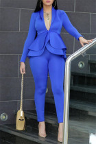Blue Fashion Casual Solid Split Joint Flounce Turndown Collar Long Sleeve Two Pieces