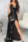 Black Sexy Solid High Opening Cake Skirt Dresses