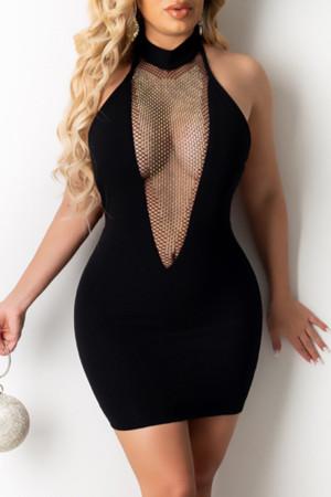Black Sexy Patchwork See-through Backless Strap Design Halter Sleeveless Dress