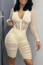 Cream White Sexy Solid Split Joint See-through Fold Mesh V Neck Skinny Jumpsuits