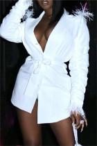 White Fashion Casual Patchwork Solid Asymmetrical Turndown Collar Outerwear