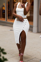 White Sexy Casual Solid Split Joint Slit Square Collar Sleeveless Two Pieces