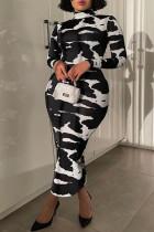 Black Fashion Casual Plus Size Print Basic Turtleneck Long Sleeve Dresses