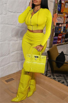 Yellow Fashion Casual Solid Basic Zipper Collar Long Sleeve Two Pieces