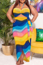 Colour Fashion Sexy Plus Size Print Bandage Backless Strapless Long Dress
