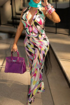 Multi-color Sexy Casual Print Basic V Neck Regular Jumpsuits