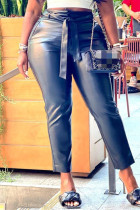 Black Fashion Casual Solid Basic Skinny High Waist Pencil Trousers