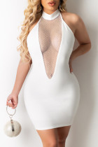 White Sexy Patchwork See-through Backless Strap Design Halter Sleeveless Dress