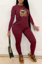 Burgundy Fashion Casual Print Fold O Neck Long Sleeve Two Pieces