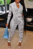 Grey Fashion Casual Print Basic Zipper Collar Long Sleeve Skinny Jumpsuits