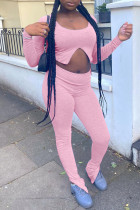 Pink Fashion Casual Solid Slit O Neck Long Sleeve Two Pieces
