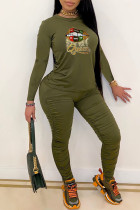 Army Green Fashion Casual Print Fold O Neck Long Sleeve Two Pieces