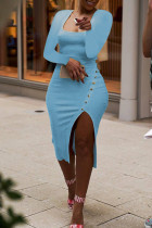 Sky Blue Sexy Casual Solid Slit Square Collar Long Sleeve Dresses