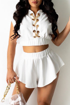 White Fashion Casual Solid Split Joint Hooded Collar Short Sleeve Two Pieces