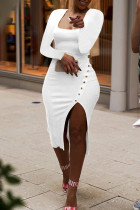 White Sexy Casual Solid Slit Square Collar Long Sleeve Dresses