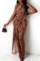 Multicolor Fashion Sexy Print Leopard Slit Zipper Collar Vest Dress