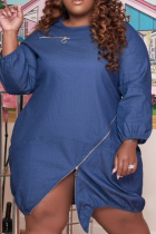 Deep Blue Casual Solid Split Joint O Neck Straight Plus Size Dresses