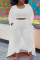 White Casual Solid Split Joint O Neck Plus Size Three Pieces