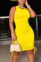 Yellow Casual Solid Split Joint Frenulum Fold O Neck Pencil Skirt Dresses