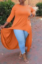 Orange Fashion Casual Solid Asymmetrical O Neck Plus Size Tops
