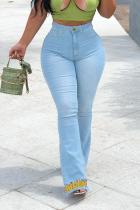 Light Blue Casual Print Split Joint Plus Size Jeans