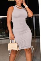 Grey Casual Solid Split Joint Frenulum Fold O Neck Pencil Skirt Dresses