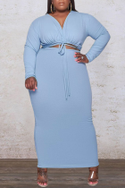 Blue Sexy Solid Split Joint V Neck Plus Size Two Pieces