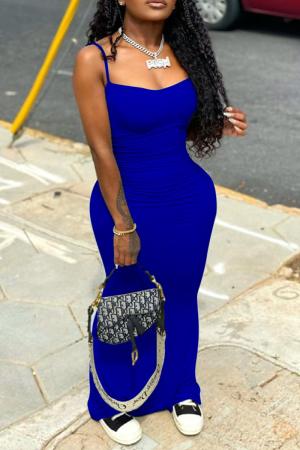 Blue Casual Solid Split Joint Spaghetti Strap Pencil Skirt Dresses