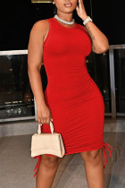 Red Casual Solid Split Joint Frenulum Fold O Neck Pencil Skirt Dresses