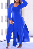 Blue Fashion Casual Solid Slit O Neck Plus Size Two Pieces