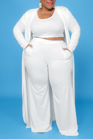 White Casual Solid Split Joint U Neck Plus Size Two Pieces