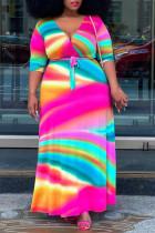 Colour Casual Print Bandage Split Joint V Neck Straight Plus Size Dresses