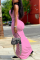 Pink Casual Solid Split Joint Spaghetti Strap Pencil Skirt Dresses