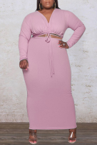 Pink Sexy Solid Split Joint V Neck Plus Size Two Pieces