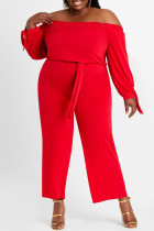 Red Fashion Casual Solid Backless Off the Shoulder Plus Size Jumpsuits