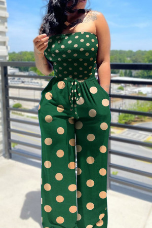 Green Casual Print Split Joint Frenulum Strapless Straight Jumpsuits